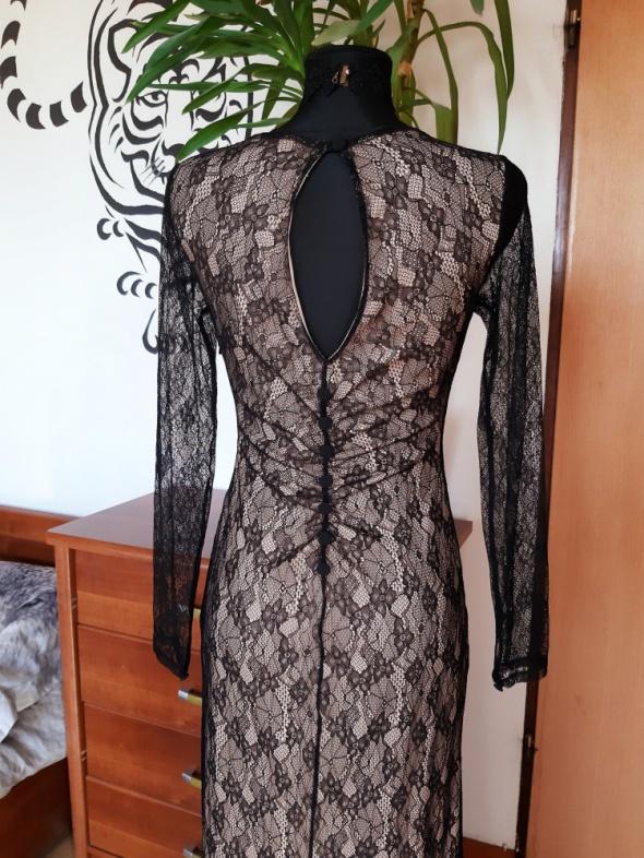 Koronkowa suknia wieczorowa koktajlowa nude czerń S M