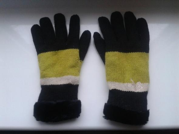 Rękawiczki House wełna czarne futerko M L nowe
