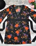 Venezia Czarna Tunika Kimono Floral Kolorowe Kwiaty Dekolt V Hi...