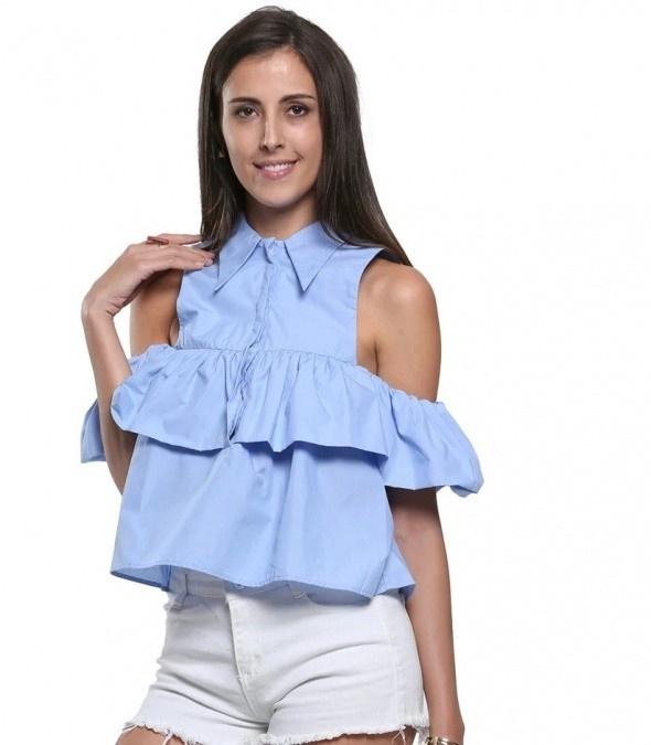 Niebieska bluzka falbanka odkryte ramiona M
