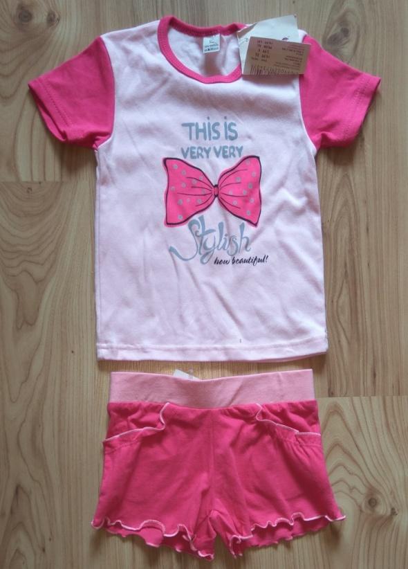 Nowy letni dziewczęcy różowy komplecik bluzeczka i krótkie spodenki 92