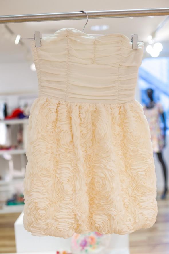 Sukienka H&M Garden Róże Gorsetowa Ecru
