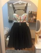 Rozkloszowana sukienka gorset plisowana XS...