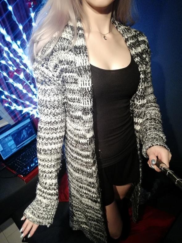 Sweter Ciepły Długi Postapokaliptyczny Szary Melanż Pull&Bear XS M