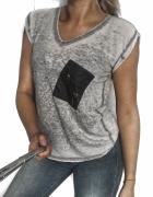 3 RECZ GRATIS szara luźna marmurkowa bluzka top z nadrukiem Med...