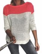3 RZECZ GRATIS kremowo różowy zimowy sweter neon oversize Reser...