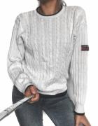3 RZECZ GRATIS biały ciepły zimowy sweter oversize wzór Sailors...