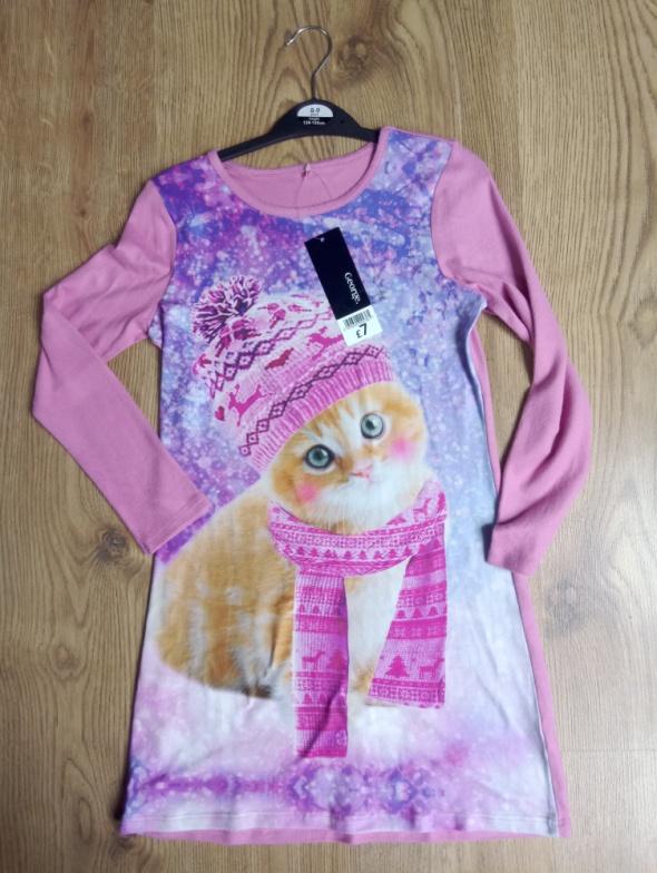 Sukienka z kotem różówa 128