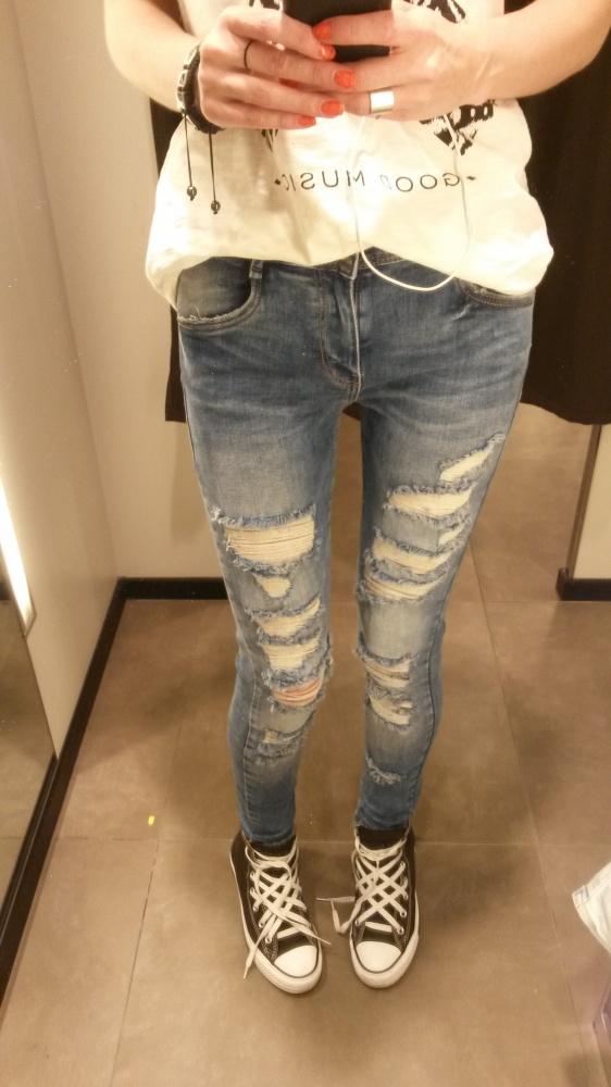 Spodnie Rurki Przetarcia Mocny Jeans Zara XS 34