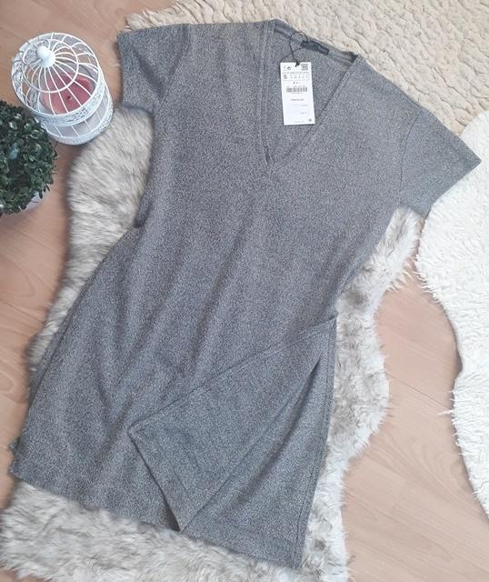 zara dekolt S 36 rozcięcia melanż tunika bluzka T Shirt