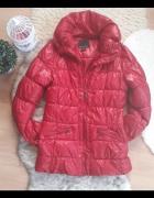 czerwona pikowana kurtka M S 38 36 amisu lakierowana