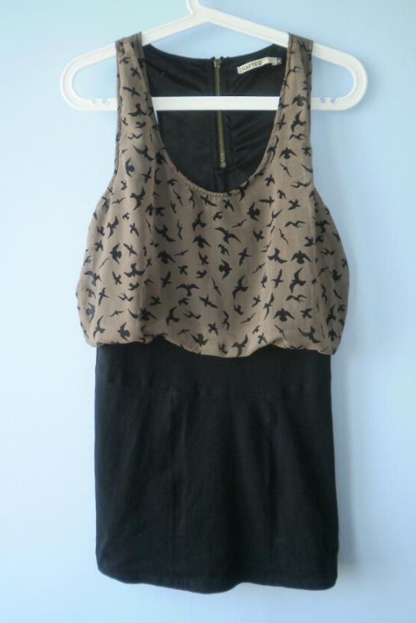 Crafted sukienka łączona 2w1 ptaki bird ptaszki