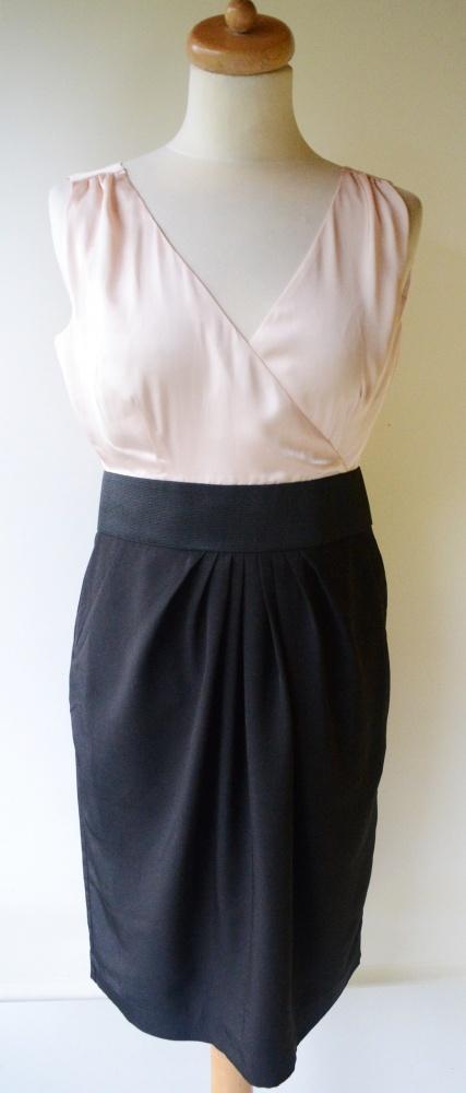 Sukienka Róż Czarna Elegancka Kopertowa M H&M