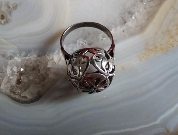 stary srebrny pierścionek ażurowa kopuła warmet