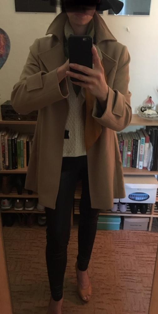 Karmelowy płaszcz Vince Camuto rozmiar M
