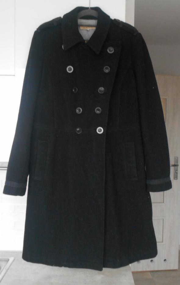 See by Chloe czarny wełniany płaszcz dwurzędowy