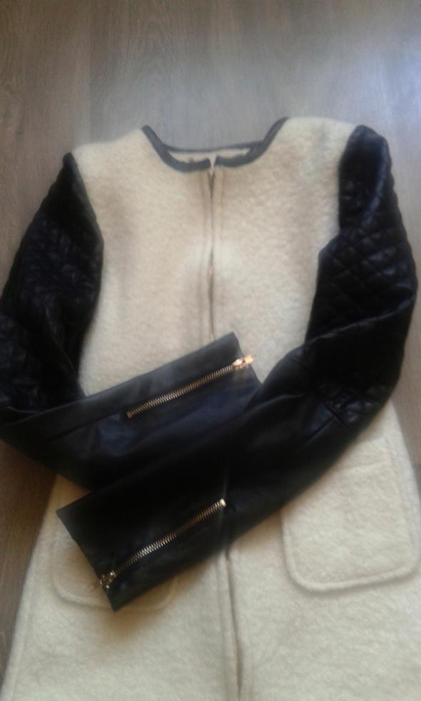 Beżowy płaszcz kurtka eco skóra 32 xxs 34 xs wełna taliowany zamek