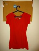 Czerwona bluzka tunika bez pleców gołe plecy wiązana...