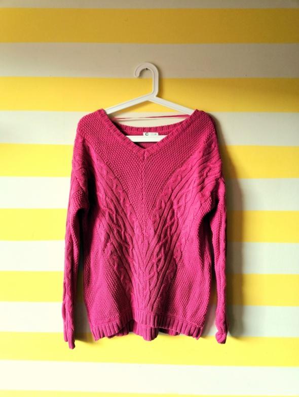 Swetry Amarantowy różowy sweter cubus XS 34 odkryte ramiona