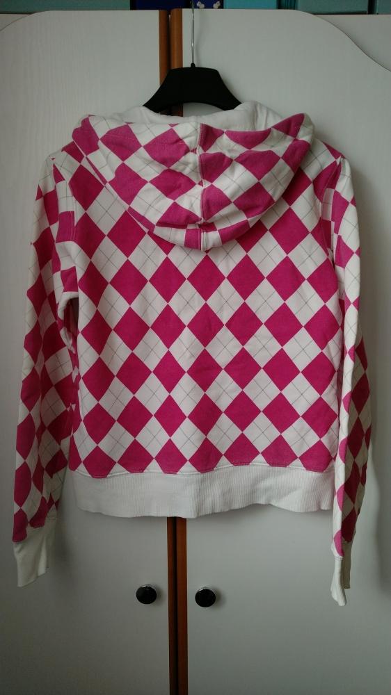 różowo biała bluza z kapturem w romby rozpinana S