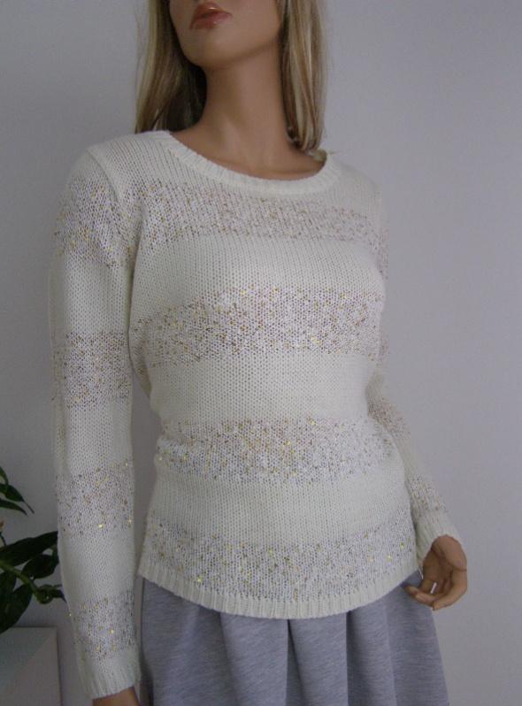 sweter cekiny święta L XL błyszczący ecru złoty