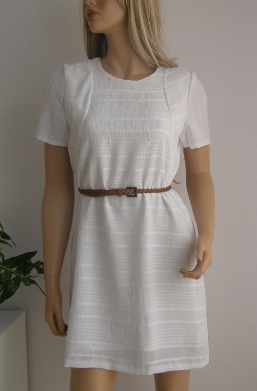 sukienka biała M L paski podszewka nowa