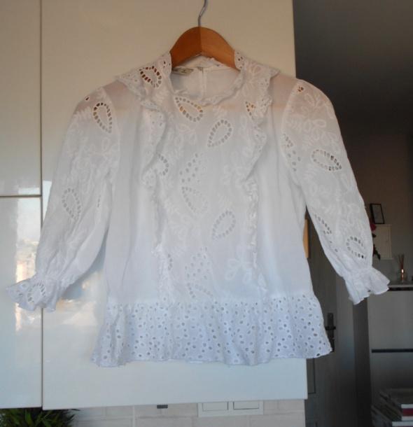 Zara biała bluzka gipiura koronka retro vintage zdobiona falbanki