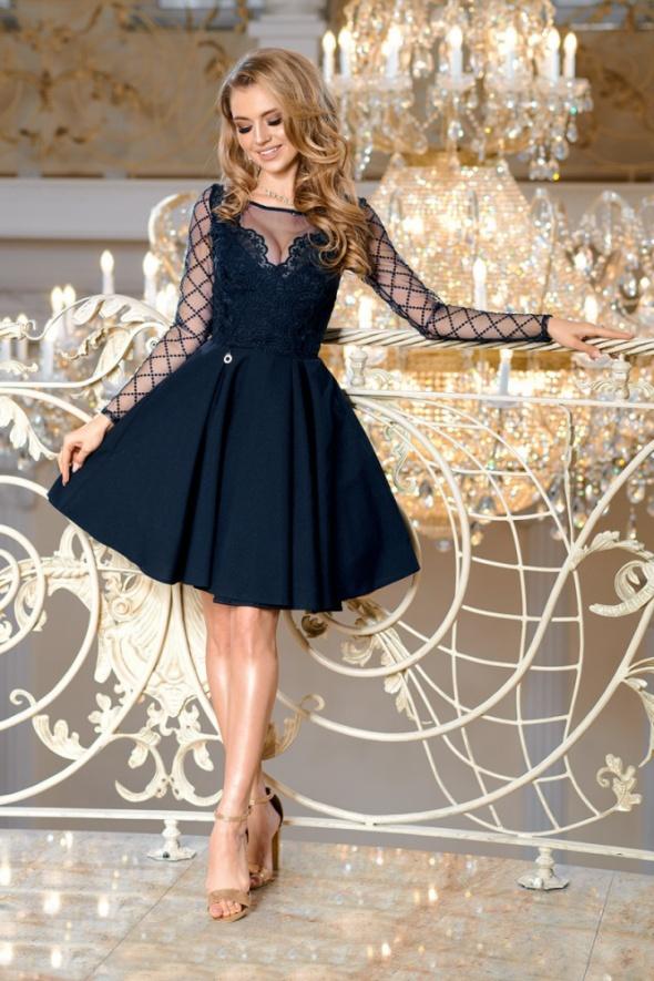6a7a771466b6d7 GRANATOWA sukienka koronka rekaw kratka w Suknie i sukienki - Szafa.pl