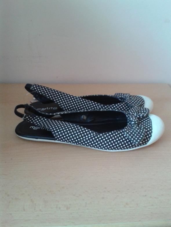 Czarne balerinki sandały odkryta pięta groszki Marisha 40 41 z metką