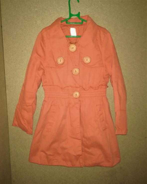 Pomarańczowy materiałowy płaszczyk 122 cm 7 8 lat