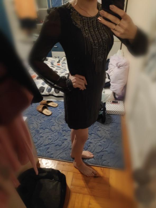 Sukienka szara elegancka że zdobieniami 34 xs