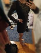 Sukienka szara elegancka że zdobieniami 34 xs...