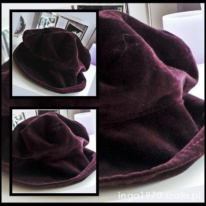 Welurowy śliczny kapelusz TANIO