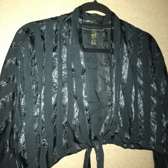 Vintage retro czarna koszula wiązana oversize 36 38