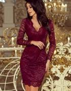 Koronkowa bordowa sukienka L 40 długi rękaw...