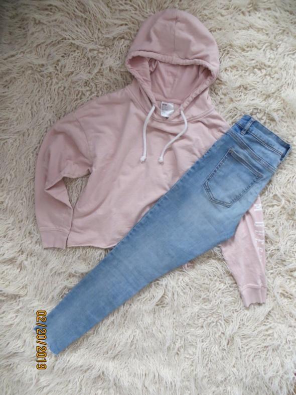 Krótka bluza pudrowa troczki H&M idealna S