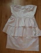 Nowa biała sukienka z baskinką ZOUL S...