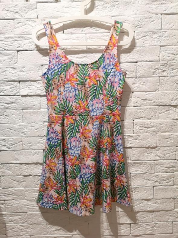 c7870b5d51 Suknie i sukienki sukienka S M L kwiaty floral print tropical H M floral  nude boho palmy