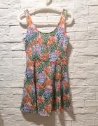 sukienka S M L kwiaty floral print tropical H&M floral nude boh...