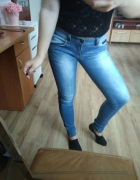 Jeansy skórzane wstawki rozmiar S 36...