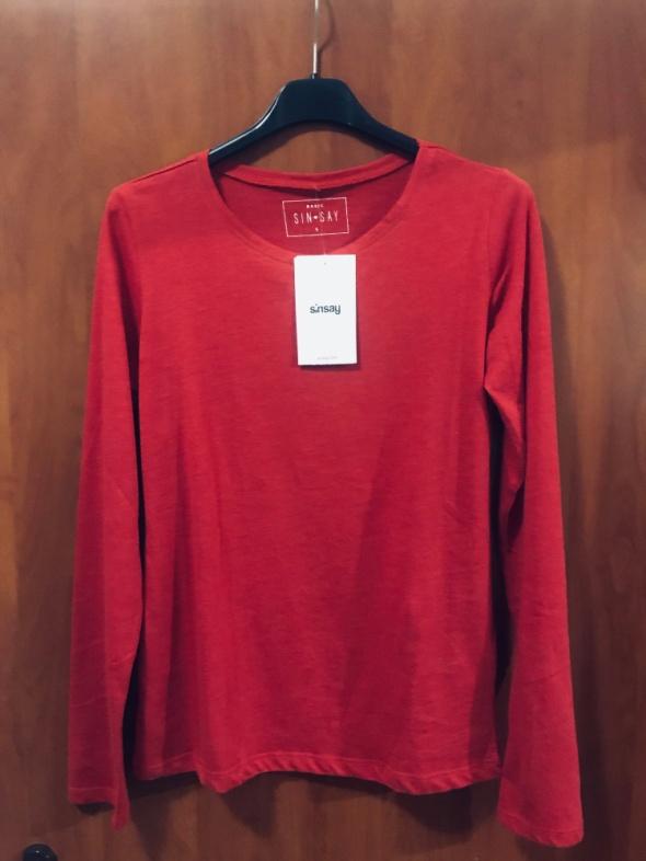Sinsay nowa bluzka z długim rękawem S blado czerwona 36...