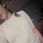 Kremowy sweterek ażurowy krótki rękaw