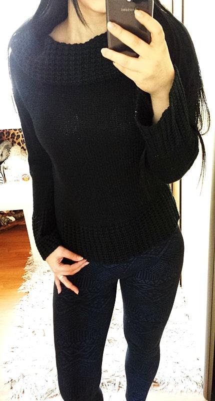 68a4c129d36d36 Czarny sweterek sweter z kominem golfem komin golf w Swetry - Szafa.pl