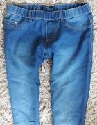 Niebieskie tregginsy jegginsy spodnie na gumce rurki cieniowane...