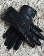 Czarne skórzane rękawiczki ażurowe...