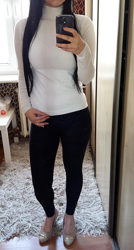 Bluzka sweterek sweter biały kremowy ecru nude golf