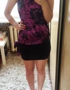 Bluzka na szyje satyna czoker choker fioletowa fuksja czarne kwiaty róże wiązana Orsay
