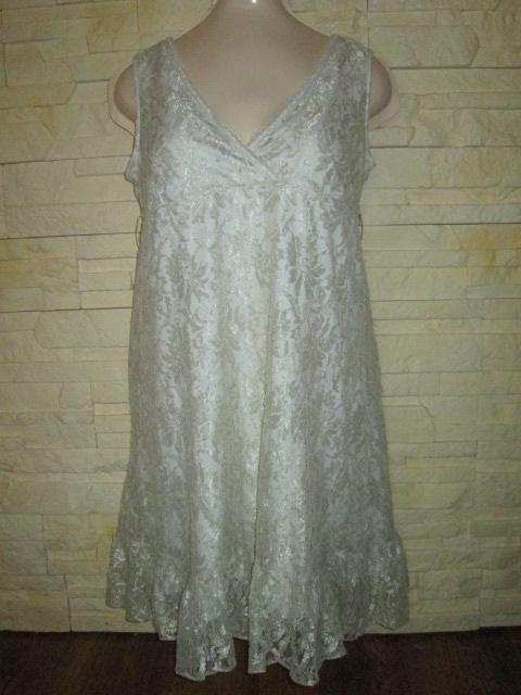 Perłowa koronkowa sukienka floral kwiaty rozmiar S...