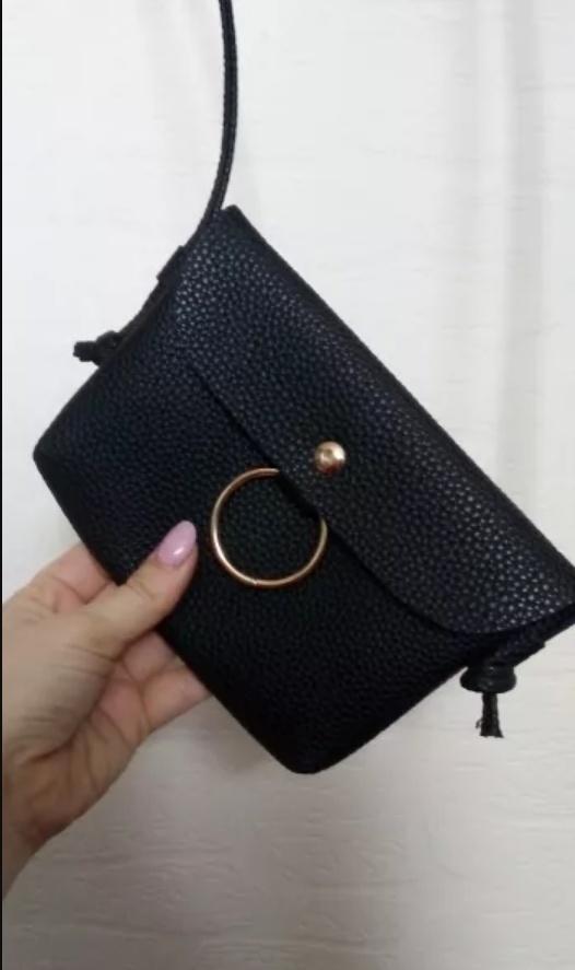 Mała czarna torebka na zatrzask