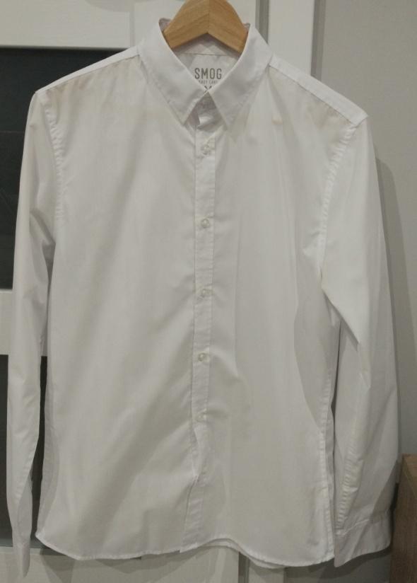 Koszule Biała męska elegancka koszula slim